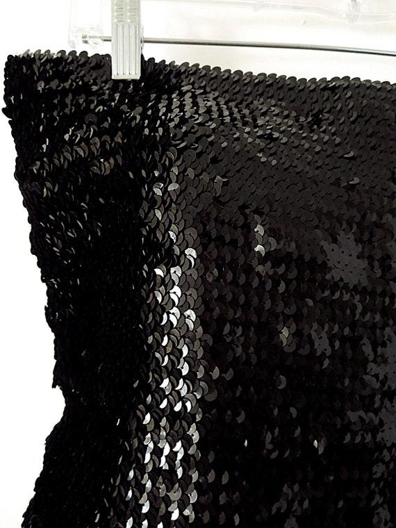 90's Vintage Sequin Tube Top - Black Sequin Top -… - image 2