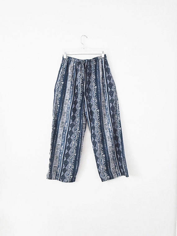90's Vintage Relaxed Pants - Silk Pants - Flowy Pa