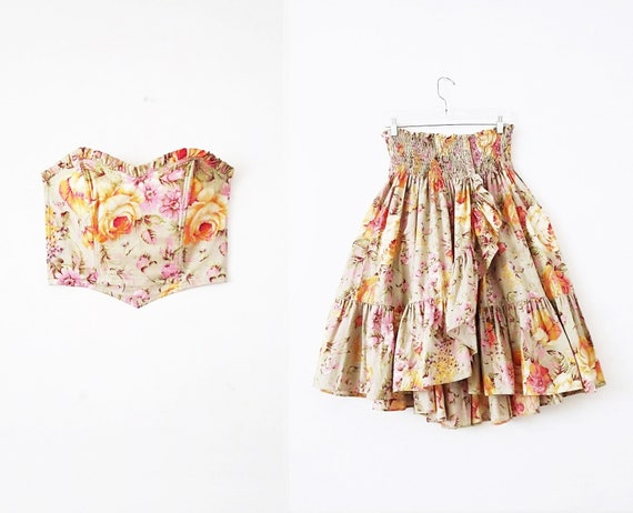 80's Vintage Floral Two Piece Matching Set - Flora