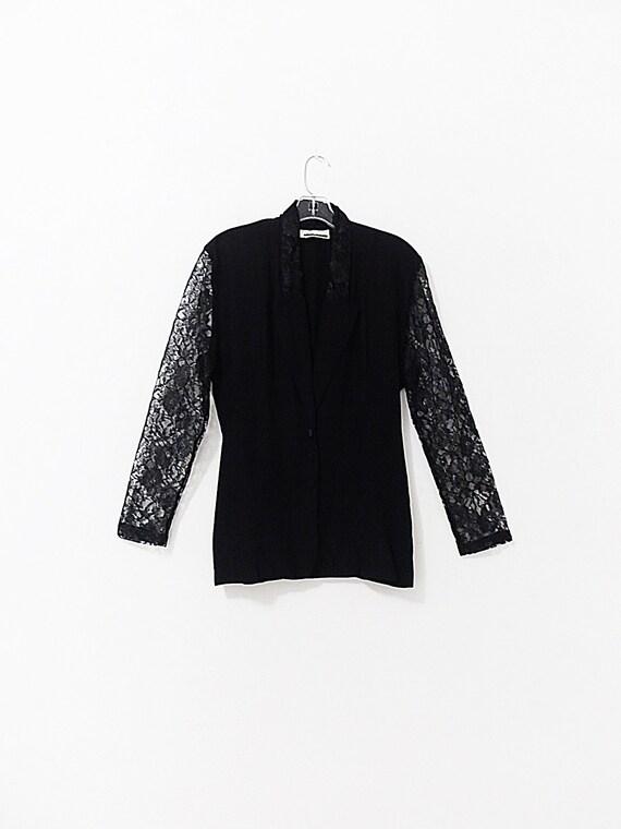 Vintage Black Lace Blazer - Lace Sleeve Blouse - L