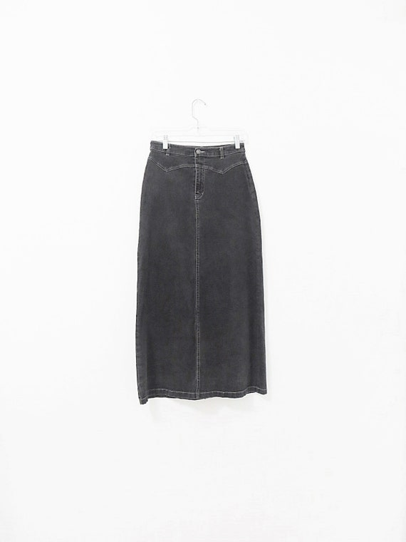 Vintage Denim Maxi Skirt - Stretch Denim Skirt - V