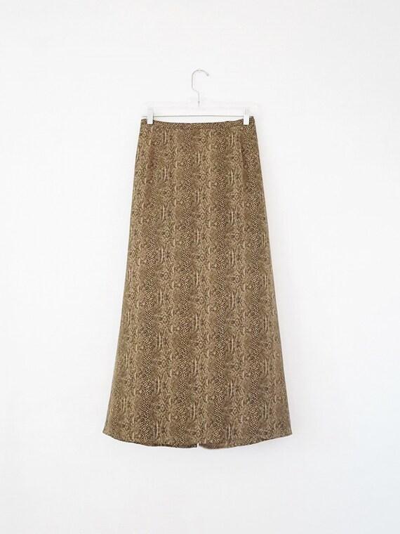 Snake Print Vintage Maxi Skirt - High Waist Skirt