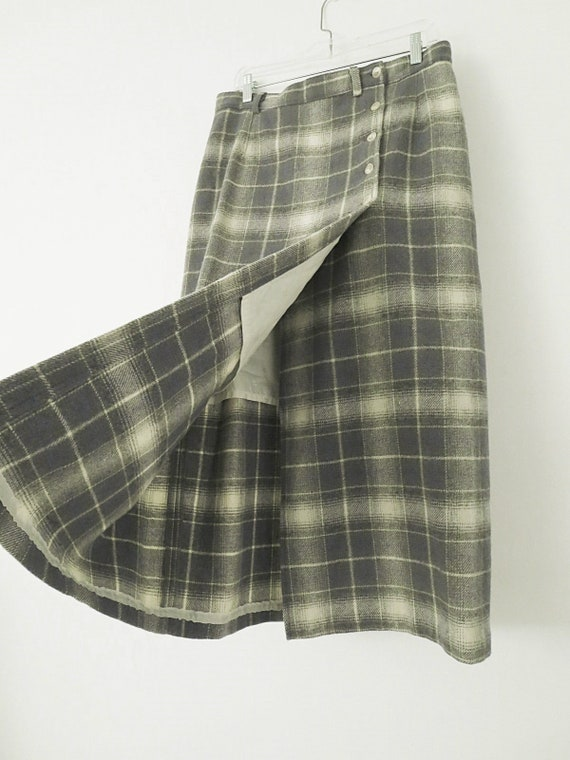 80's Vintage Woolrich Plaid Skirt - Plaid Maxi Sk… - image 2