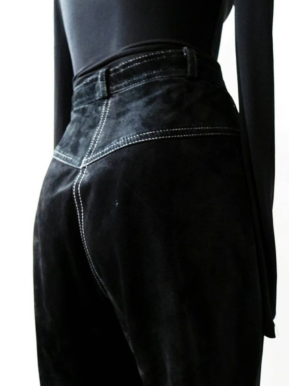 Vintage Suede Pants - Black Suede w/ White Top St… - image 4
