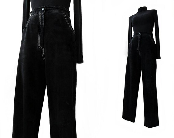 Vintage Suede Pants - Black Suede w/ White Top St… - image 3