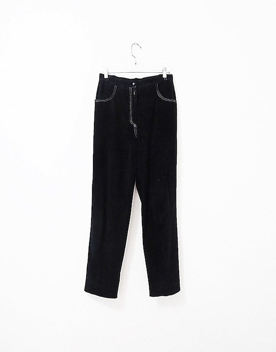 Vintage Suede Pants - Black Suede w/ White Top St… - image 2