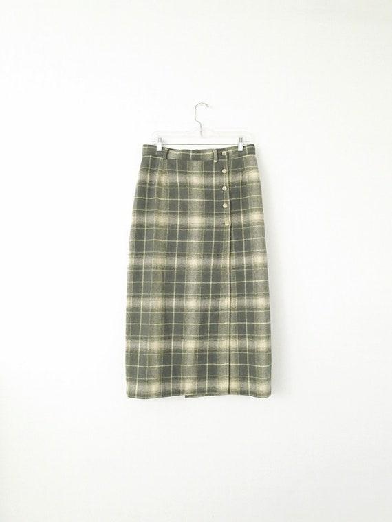 80's Vintage Woolrich Plaid Skirt - Plaid Maxi Sk… - image 1