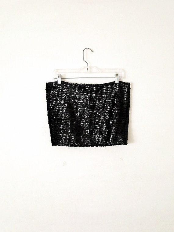90's Vintage Sequin Tube Top - Black Sequin Top -… - image 1