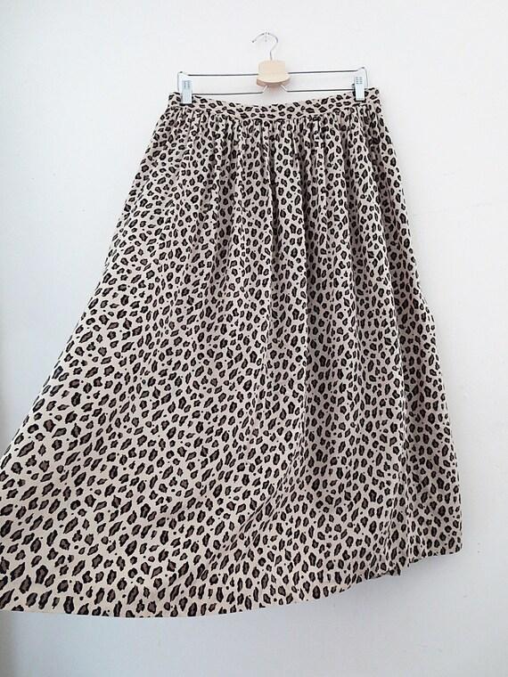 Leopard Print Midi Skirt - Gathered Skirt - Animal