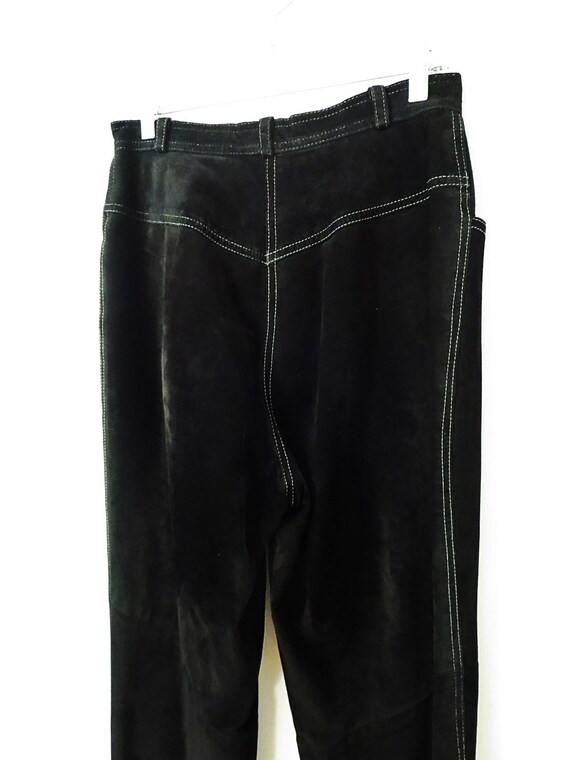 Vintage Suede Pants - Black Suede w/ White Top St… - image 6