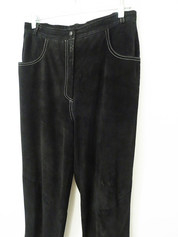 Vintage Suede Pants - Black Suede w/ White Top St… - image 5