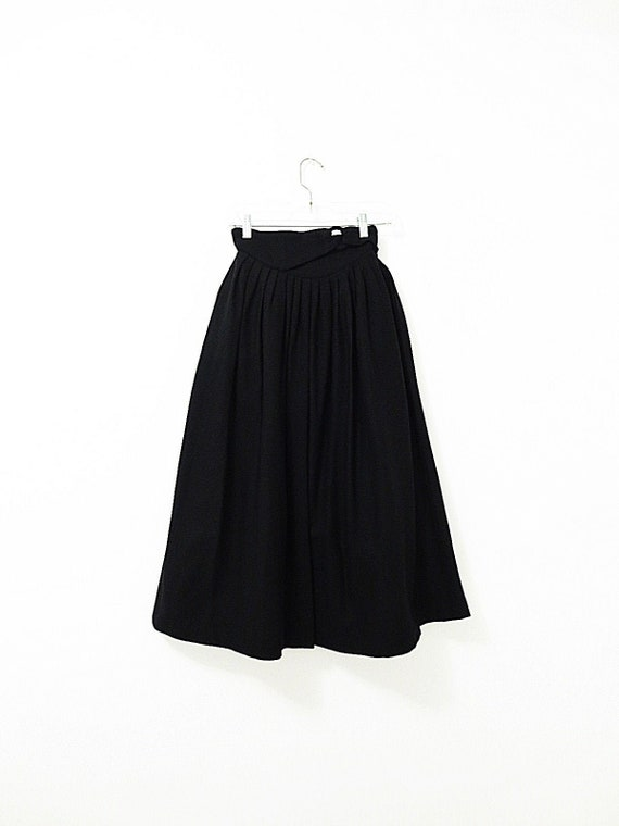 1950's Vintage Pleated Skirt - Black Wool Skirt -