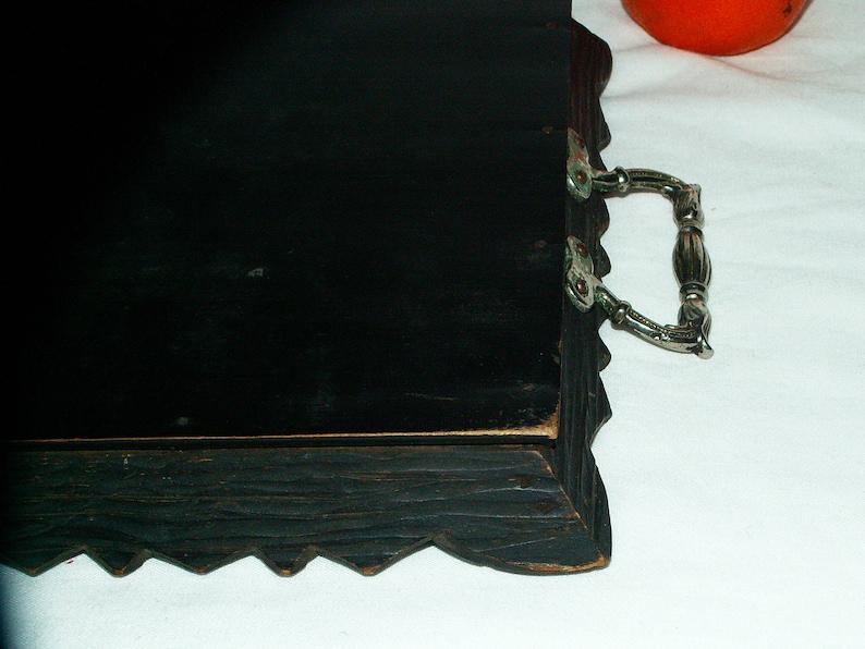 Wooden Carved TrayGlassEngraved Metal Handle1960s