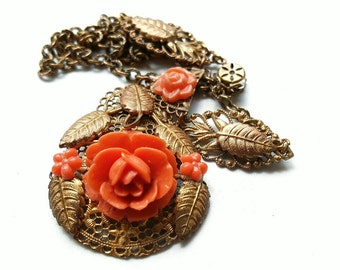 Vintage Brass Necklace with Faux Coral Rose