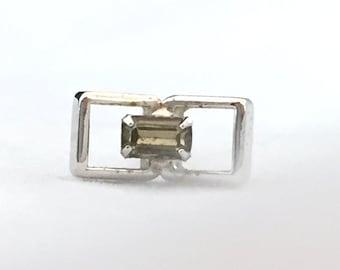 c3e56de7df03 Rectangle Silver Tone Green Stone Tie Tack with Safety Chain, Open  Rectangular Tie Tack Light Green Stone, Men's Accessories, Groomsmen