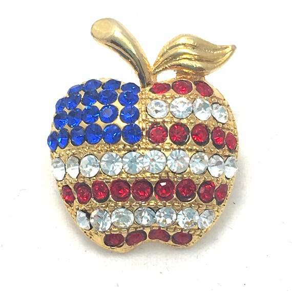 Patriotic Apple Brooch Red White Blue American Flag Bling  3538e96fa754