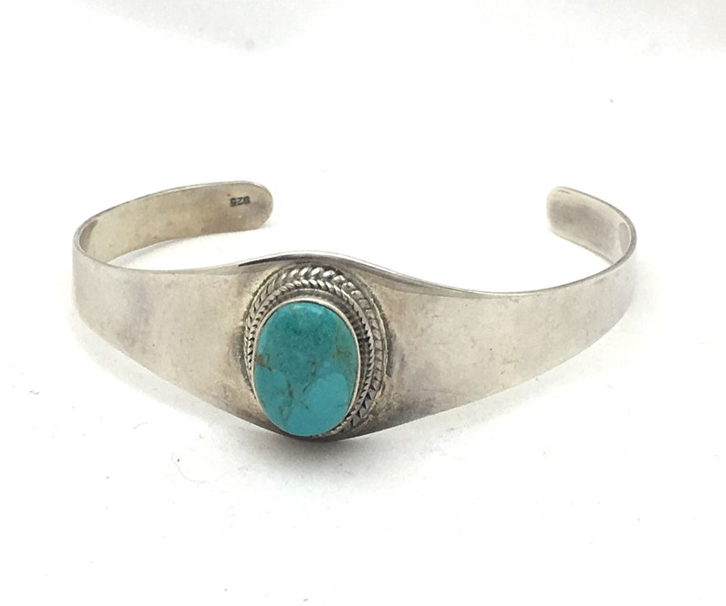 Minimalist 925 Silver Oval Veined Turquoise Jewelry Sterling Silver Turquoise Cuff Bracelet Native American Style Twisted Wire Frame