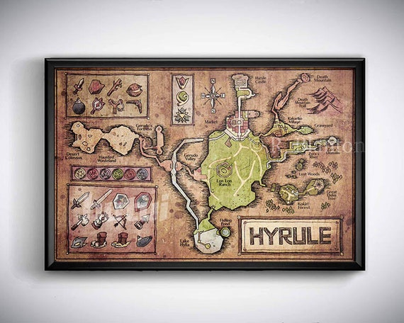 Map Of Hyrule From Legend Of Zelda Ocarina Of Time English Etsy