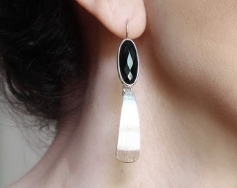 Long black onyx earrings Sterling silver dangle earrings Geometric jewelry Long drop earrings Edgy jewelry