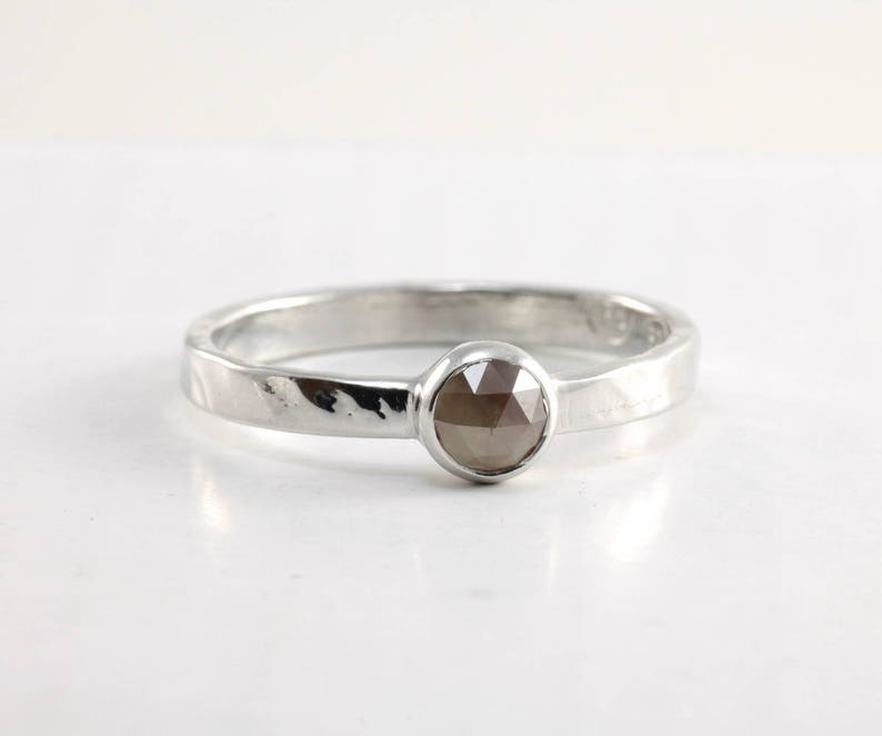 Brown rose cut diamond ring hammered sterling silver band Size 7 Rustic jewelry