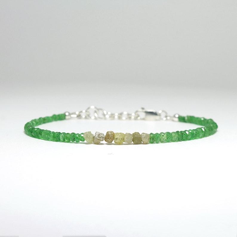 Tsavorite /& raw diamond bracelet Sterling silver Green garnet rough yellow diamond boho luxe jewelry