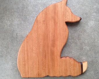Wooden fox cutting board, wooden serving platter, wood cutting board