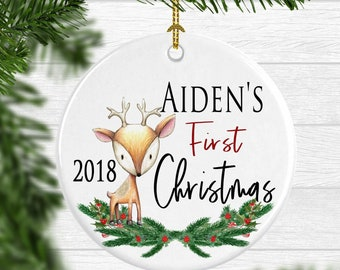 Baby Boys 1st Christmas Ornament Boy Personalized First Christmas Gift New Baby Gift Reindeer Christmas Ornament with Name Free Shipping