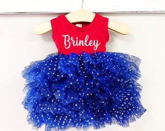 88a949a82e 4th of July Dress Fluffy Personalized Girl Fourth of July Girl Outfit 4th  of July Dress