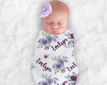 Purple Baby Girl Blanket Personalize Baby Swaddle Baby Shower Gift Monogram Baby Blanket Name Blanket Receiving Blanket or Plush Blanket