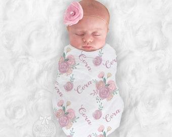 Baby Girl Blanket Personalize Baby Swaddle Baby Shower Gift Monogram Baby Blanket Name Blanket 2 Options: Receiving Blanket or Plush Blanket