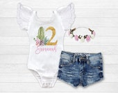 Girls Cactus Birthday Outfit Succulent Birthday Shirt Girls Personalized Birthday Shirt 1st Birthday Outfit Distressed Denim Flower Crown