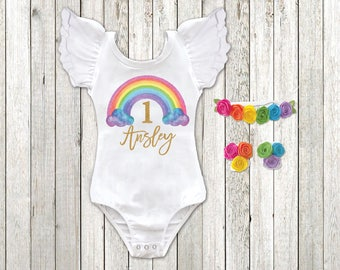 Rainbow Birthday Girl Outfit Personalized Shirt Cake Smash First ANY AGE Second