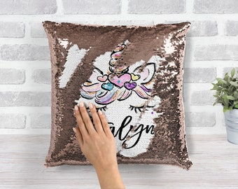 Personalized Unicorn Pillow Rose Gold Mermaid Pillow Case Gift for Her Sequin Changing Pillow 16x16 With Pillow Form