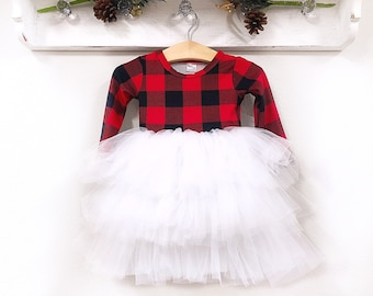 pre order buffalo plaid christmas dress fluffy twirl dress personalized girl christmas outfit red black plaid toddler dress sizes nb 10 year