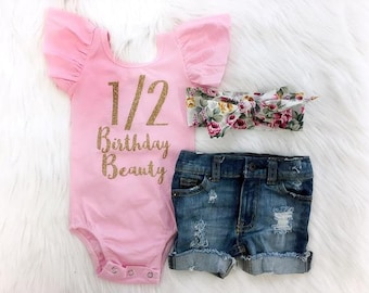 Half Birthday Outfit Pink And Gold Distressed Denim Beauty Leotard 1 2 6 Month
