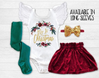 Baby Girl 1st Christmas Outfit First Christmas Dress Newborn Christmas Outfit Infant Christmas Dress 1st Christmas Dress