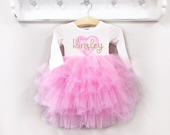 6e7dbe3e1 Girls Personlized Valentines Day Dress Pink Fluffy Dress with Name Baby Girl  Valentine Day Outfit Pink Birthday Twirl Dress Newborn-10 Year