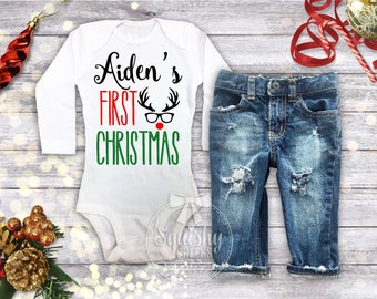 Boy's 1st Christmas Outfit,  Boys Christmas Bodysuit, Personalized 1st Christmas Shirt, Baby Boy Christmas Shirt, Newborn Christmas Outfit