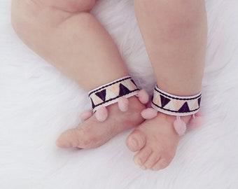 3cde338a81532 Pink Boho Fringe Anklets Girl Summer Accessories Baby Barefoot Moccasins  Pom Pom Aztec Barefoot Sandals Newborn Shoes Piggy Petals