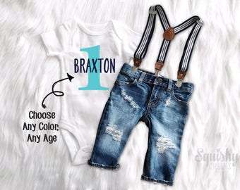 First Birthday Outfit Boy 1st Personalized Top Distressed Denim Suspender Pants Or Shorts Smash Cake Photo