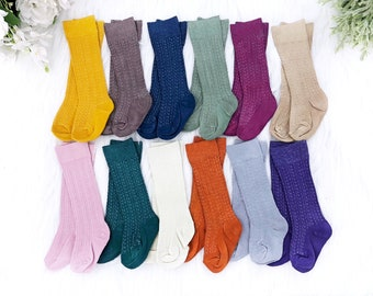 Fall Baby Knee High Socks Girl Boy Hand Dyed Cable Knit Socks Mustard Navy Pumpkin Infant Toddler Girl Boy Size Newborn-10 Years
