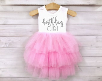 Girls Birthday Dress Pink And Silver Outfit 1st 2nd 3rd 4th 5th Fluffy