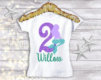 Mermaid Birthday Shirt 2nd Party Personalized Available In Any Age