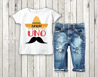 Boys Uno Personalized Birthday Shirt 1st Sombrero Fiesta Party Mustache Outfit Denim