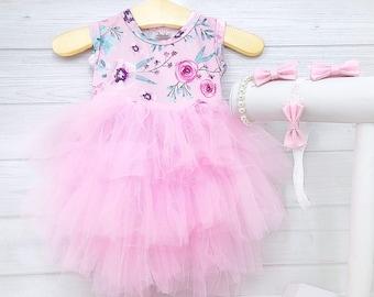 Girls Easter Dress Spring Floral Dress Fluffy Twirl Dress Girl Easter  Outfit Pink Floral Dress Infant Dress Toddler Baby Dress Sizes NB-10 0ed193bc7b9b