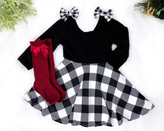 buffalo check plaid christmas dress twirl dress black and white personalized girl christmas outfit toddler dress sizes newborn 10