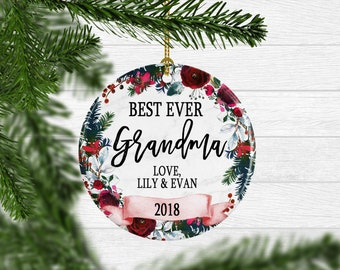 Christmas Gift For Grandma Personalized Christmas Ornament For Nana Ornament Yearly Christmas Ornament From Grandchildren Free Shipping