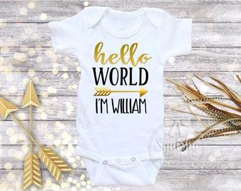 Baby Boy Baby Shower Gift, Baby Boy Bodysuit, Hello World Personalized Bodysuit, Boy Take Home Outfit, Newborn Boy Clothes, Newborn Outfit