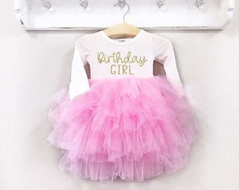 Girls Birthday Dress Pink And Gold Outfit Long Sleeve 1st 2nd 3rd 4th 5th Fluffy