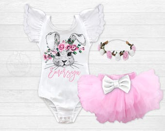 Girls Easter Outfit Personalized Baby Girl Easter Shirt Boho Bunny Birthday Toddler  Easter Shirt Newborn Easter Outfit Infant Bunny Leotard 142fc28cce